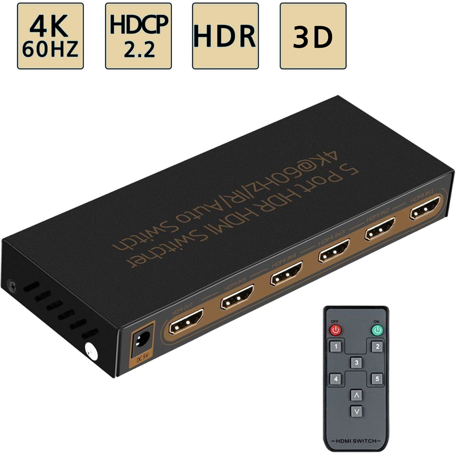 4K@60Hz HDMI Switch 5x1 Awakelion Premium Quality 5 in 1 Out Switcher with IR Remote Support,HDCP 2.2,UHD,HDR,Full HD