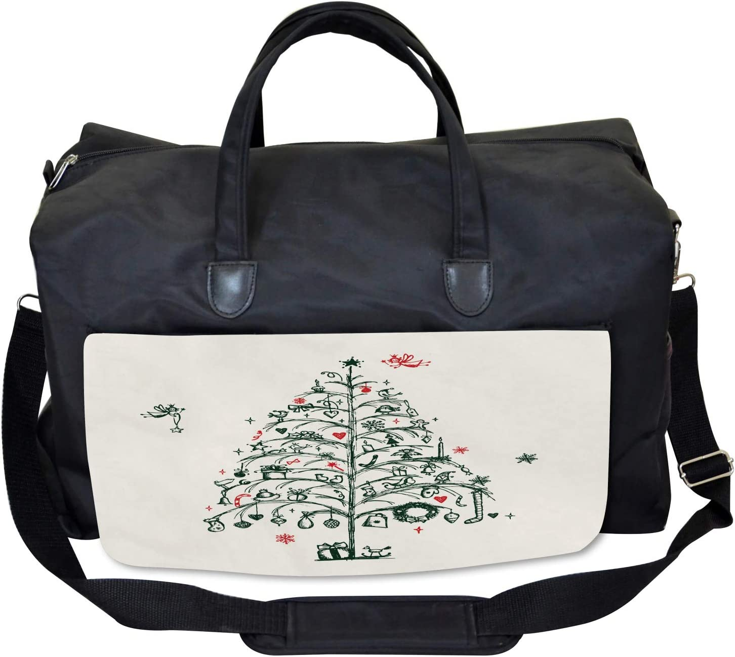 Ambesonne Christmas Gym Bag Tree and Fairies Large Weekender Carry-on