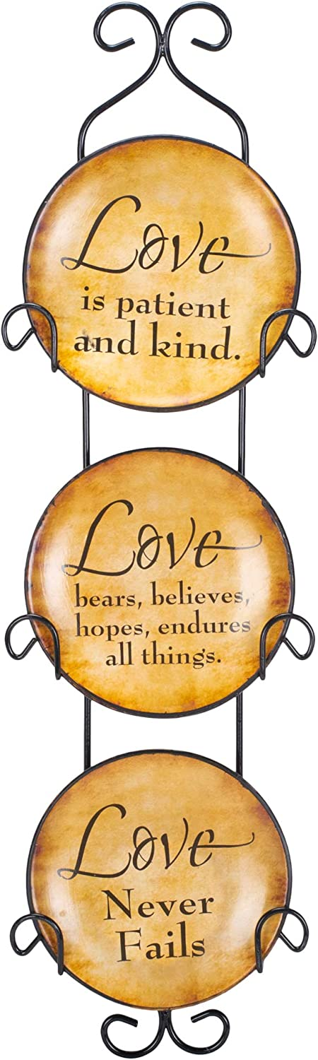 Dicksons Love Never Fails 18 x 5 Mini Ceramic Wall Plates and Metal Hanger Set of 3