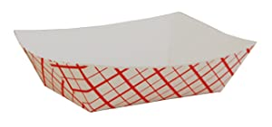 Southern Champion Tray 0409 #50 Southland Paperboard Food Tray, 1/2 lb Capacity, Red Check (Case of 1000)