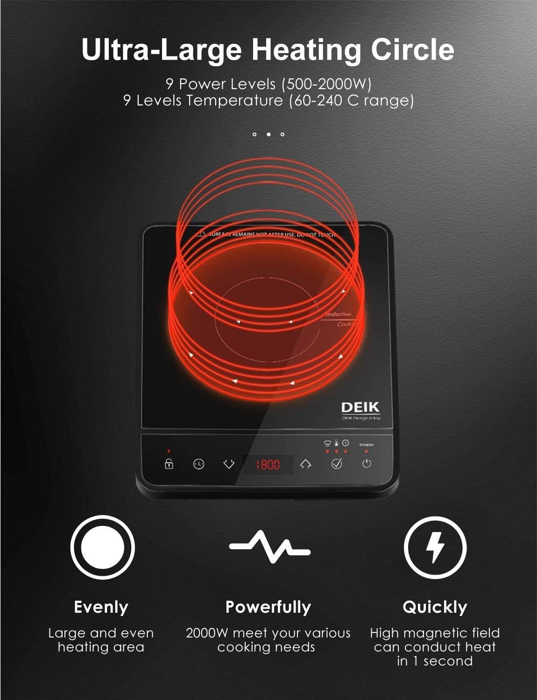 Deik - Placa de inducción eléctrica portátil Full Crystal, 2000 W, temporizador 3 horas, controles táctiles, 10 niveles de potencia, diseño portátil ...