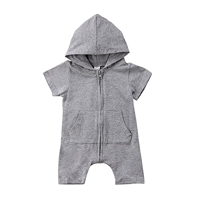56ddaef28 Enhill Toddler Infant Baby Boy One-Piece Sleeveless Hoodie Romper Jumpsuit  with Zipper Playsuit (