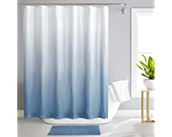 REEPLE Ombre Shower Curtain Set with Rugs and Hooks for Bathroom Textured Waterproof Gradient Fabric Bath Shower Curtain 72 x