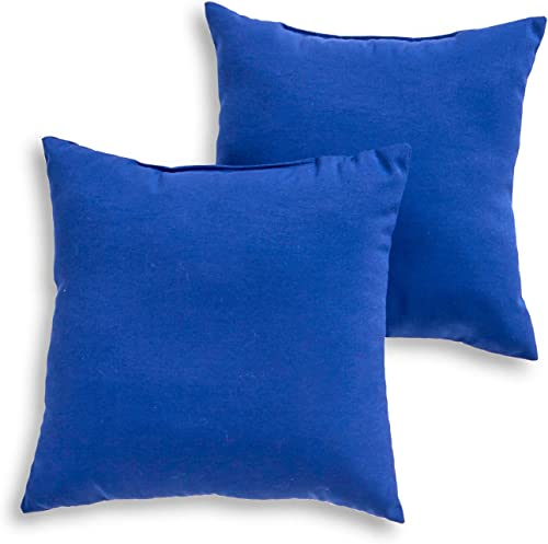 South Pine Porch AM4803S2-MARINE Solid Marine Blue Outdoor 17-inch Square Accent Pillow, Set