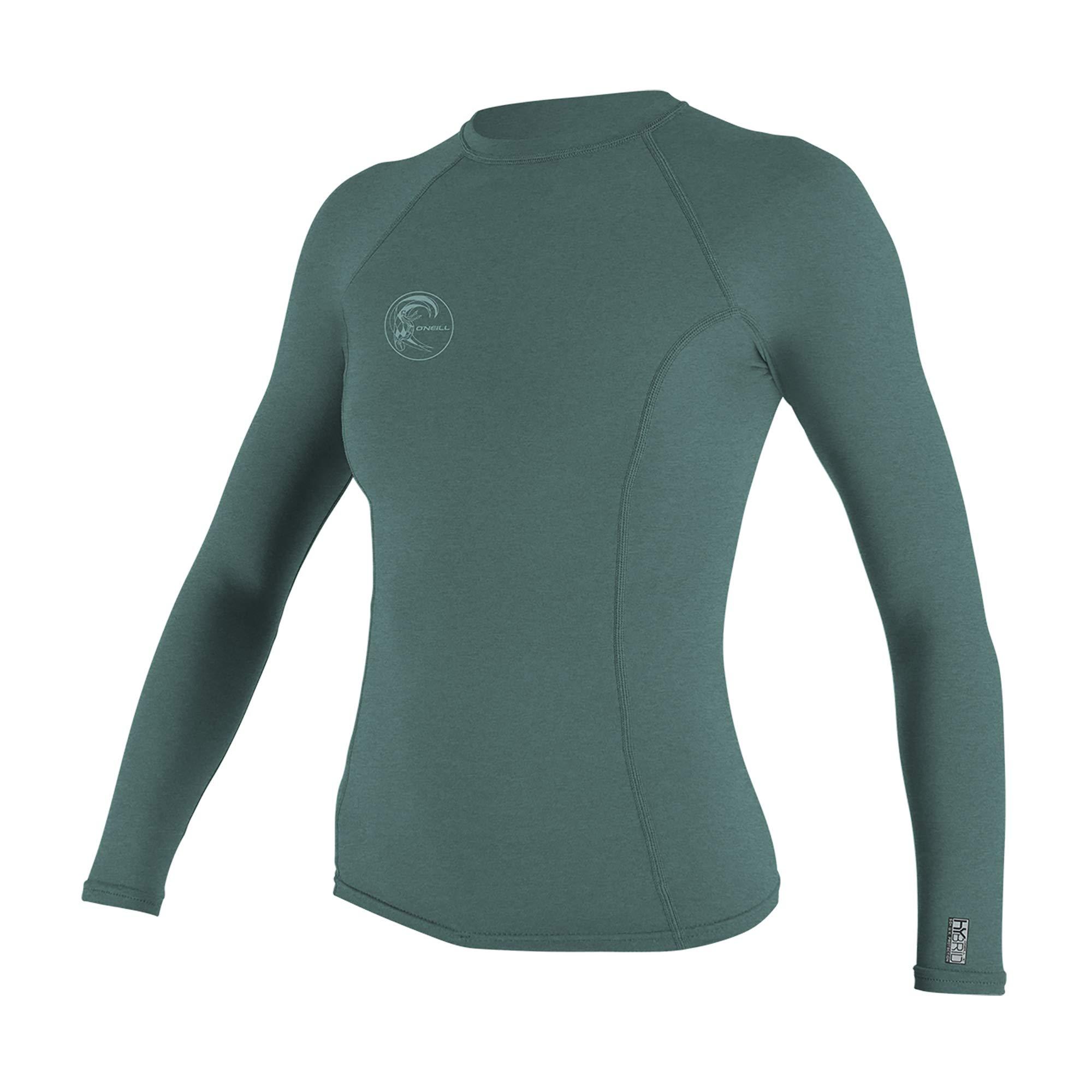 O'Neill Wetsuits Women's Hybrid UPF 50+ Long Sleeve Rash Guard, Eucalyptus, X-Small by O'Neill Wetsuits