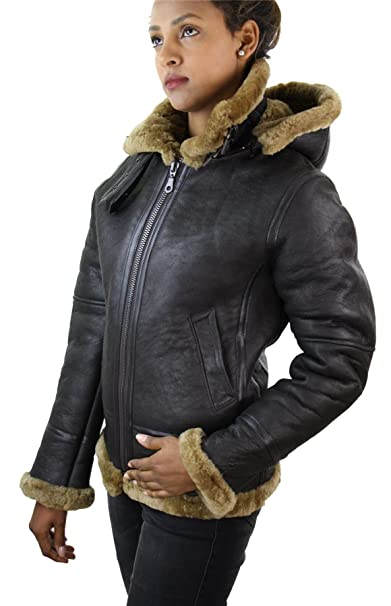 hot sales abff5 33b55 Damen echtem Kapuze Leder Winterjacke mit Schaffell und aus ...