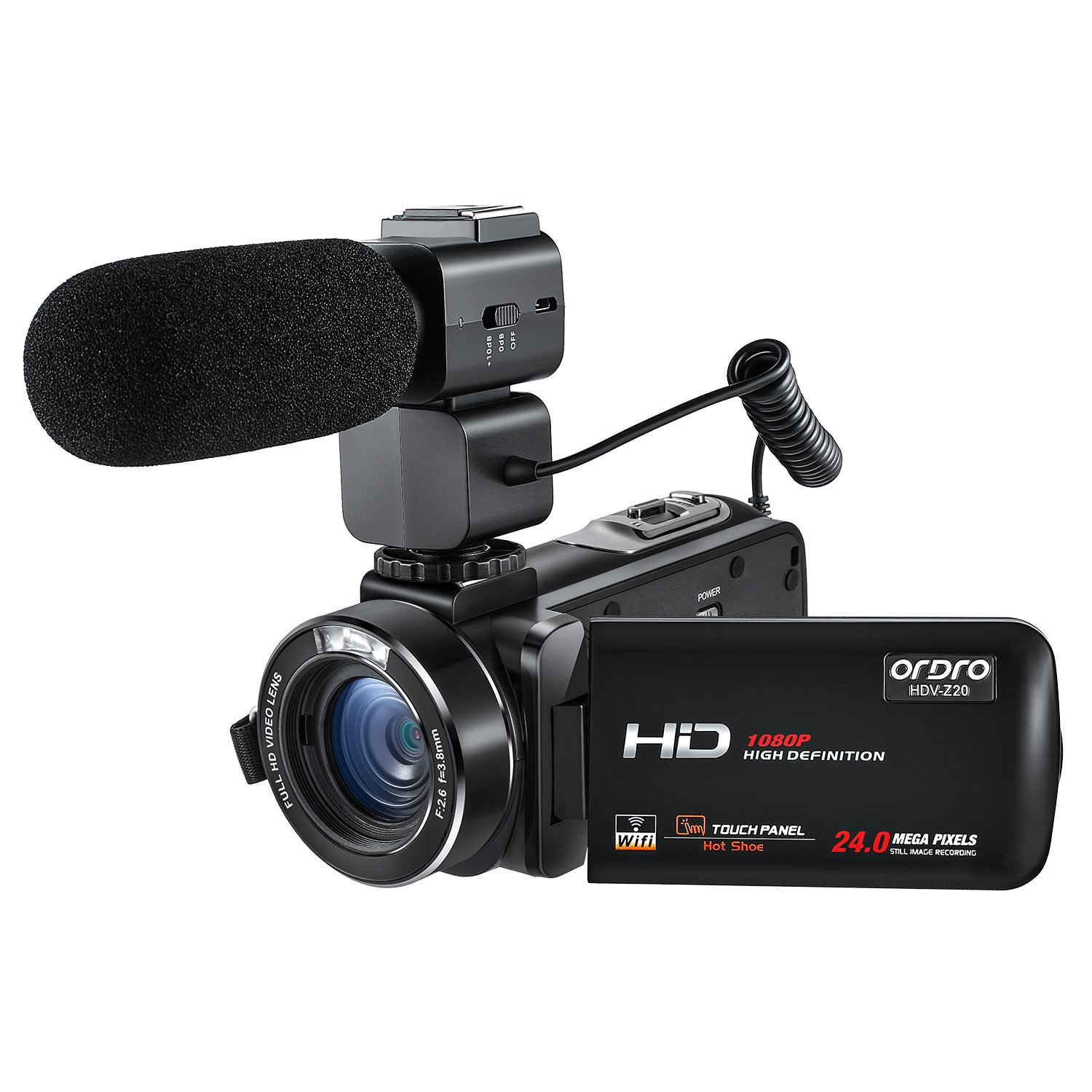 ORDRO Wifi Camcorder 1080P Full HD Digital Video Camera with External Microphone (HDV-Z20) by ORDRO
