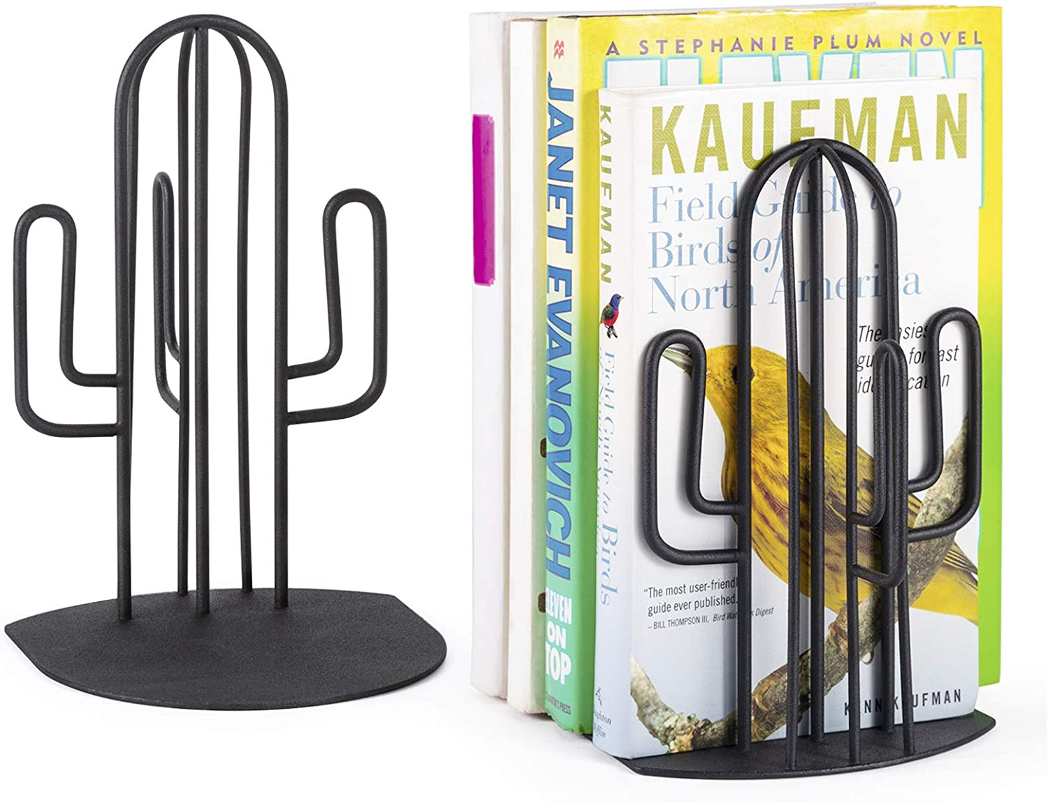Alsonerbay Bookends Geometric Decorative Metal Book Stoppers Abstract Creative Book Supports, Desktop Book Display Organizer, Modern Book Holders, Cactus Book Ends for Office 1 Pair (Black)