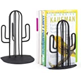 Alsonerbay Bookends Geometric Decorative Metal Book Stoppers Abstract Creative Book Supports Desktop Decor Cactus Book…