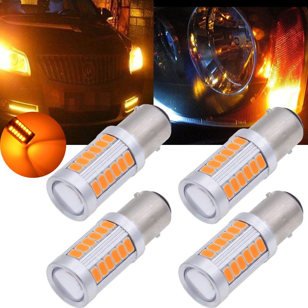 Tuincyn 1156 BA15S Lot de 2 ampoules Blanches 5630 33SMD LED 8000 K 900 lumens 1141 7056 pour feu stop, feu de stationnement, clignotants, DC 12 V 3.6 W DC 12V 3.6W