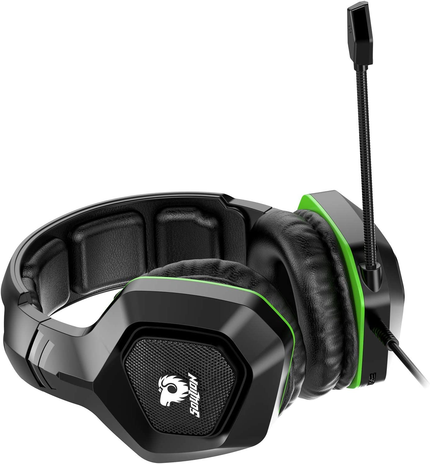 Soulion Tracer 20 Gaming Headset for PS4 Xbox One PC Over Ear Headphones with Noise Cancelling Microphone, Surround Sound, Breathable Soft Ear Pads