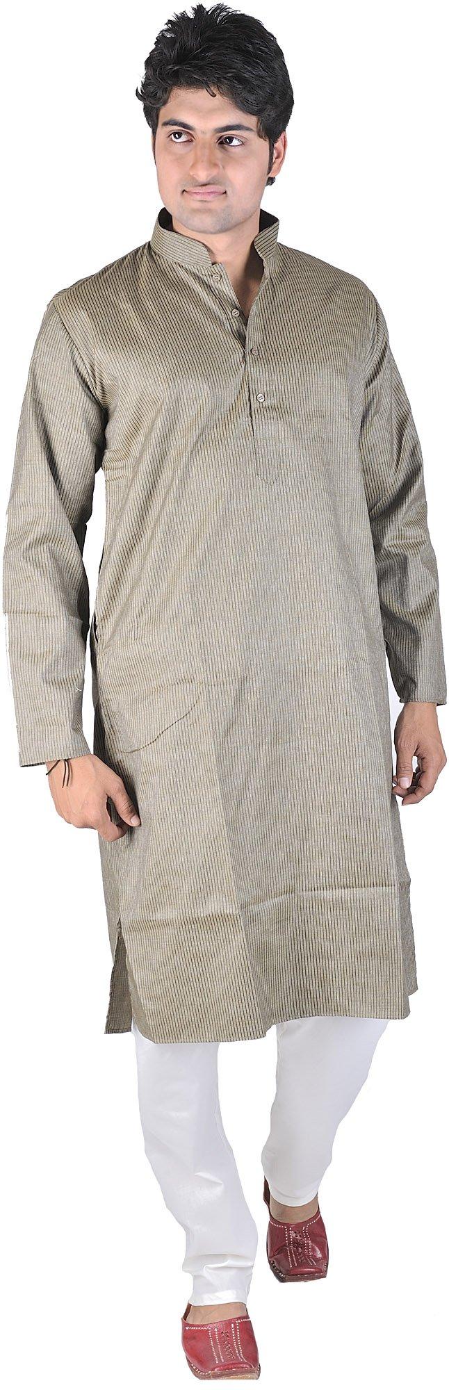 Exotic India Vetiver-Green Kurta Pajama with Fine Woven Size 38