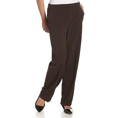 Briggs New York Women's Pull On Dress Pant Average Length & Short Length, Brown, 12 at Women's Clothing store: Dress Pants