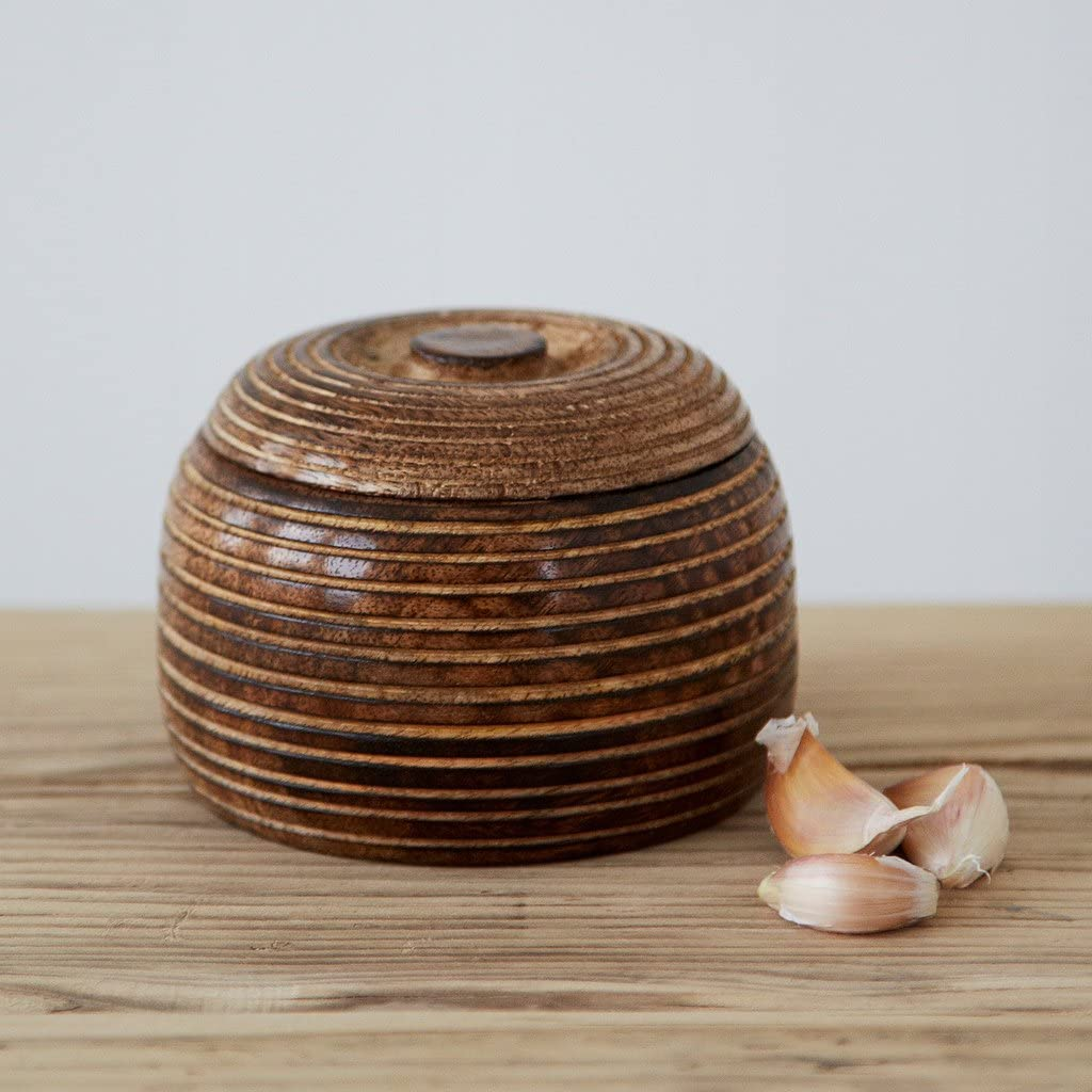 Paper High Cuenco pequeño de madera de mango tallado a mano con tapa, comercio justo, hecho a mano, cuencos de almacenamiento de madera sostenibles