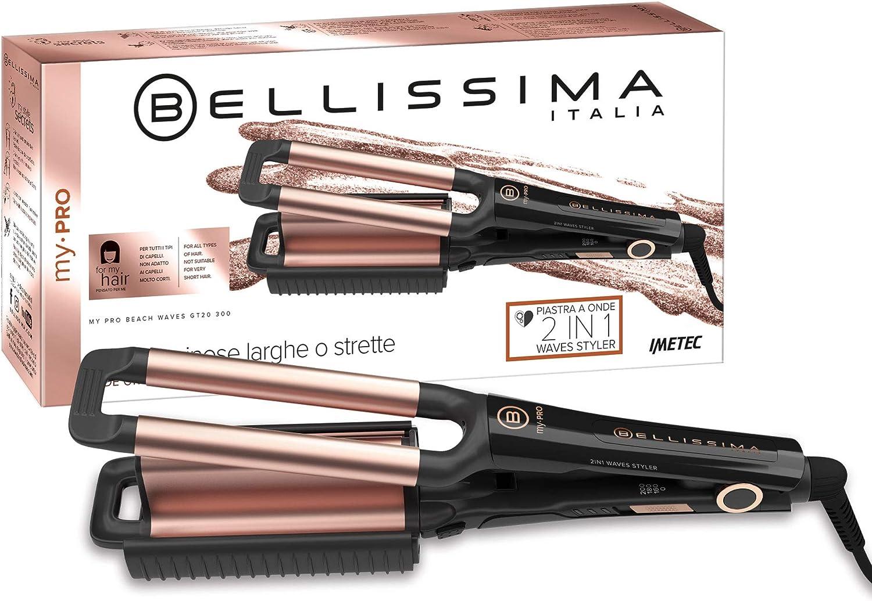 Imetec Bellissima My Pro Beach Waves GT20 300 - Plancha para el pelo con revestimiento de cerámica para hacer ondas anchas y estrechas, efecto natural, bolsa térmica incluida
