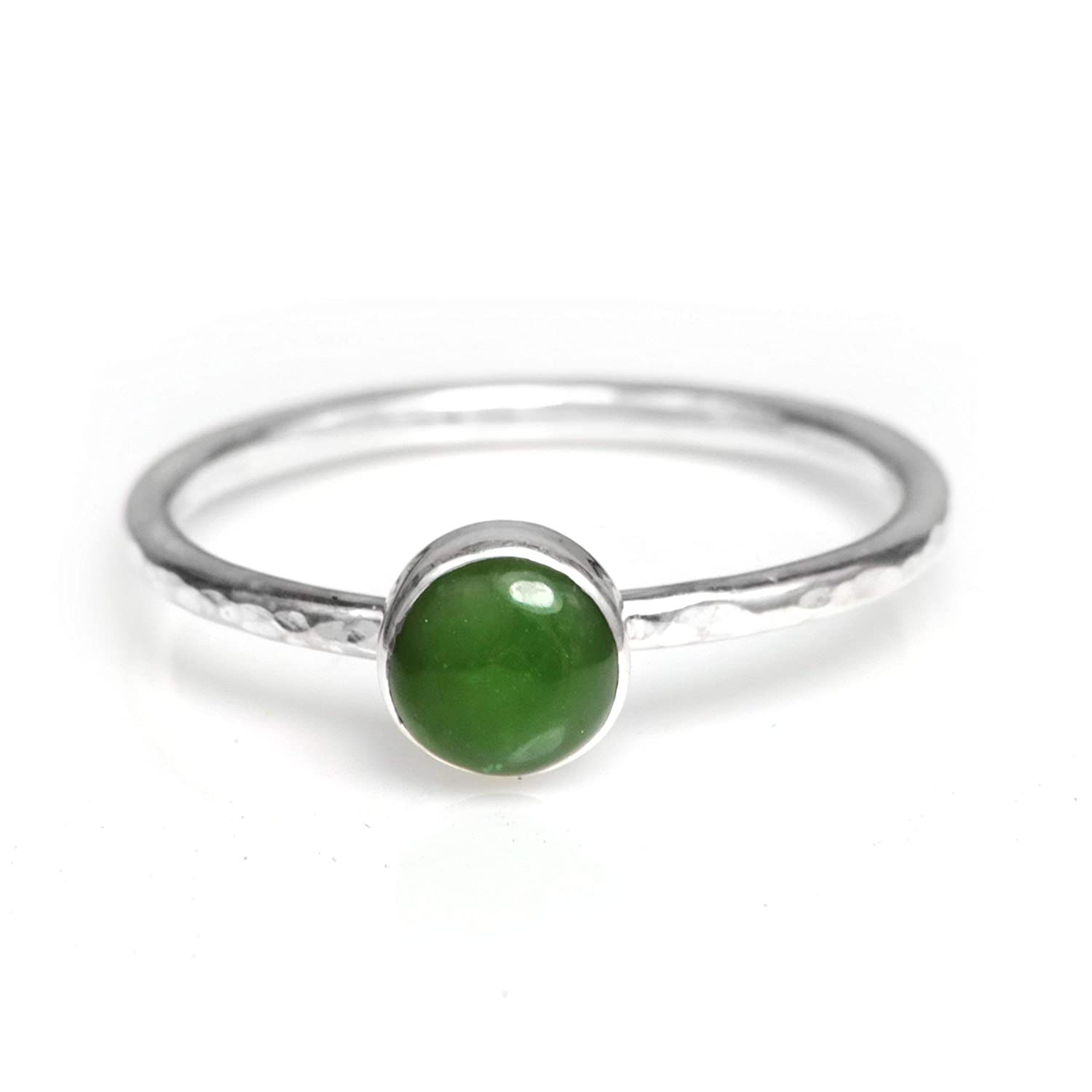 Natural Jade and Sterling Silver Stackable Ring