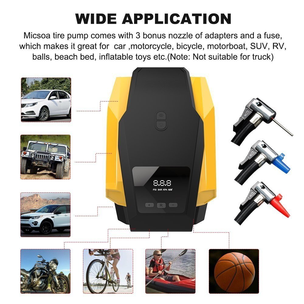 ONEVER Compressore dAria 150PSI Heavy Duty Auto Gonfiabile Pompa gonfiaggio 12V DC con manometro gonfiatore Pneumatico Portatile per Auto Camion Limousine Bicicletta o Basket