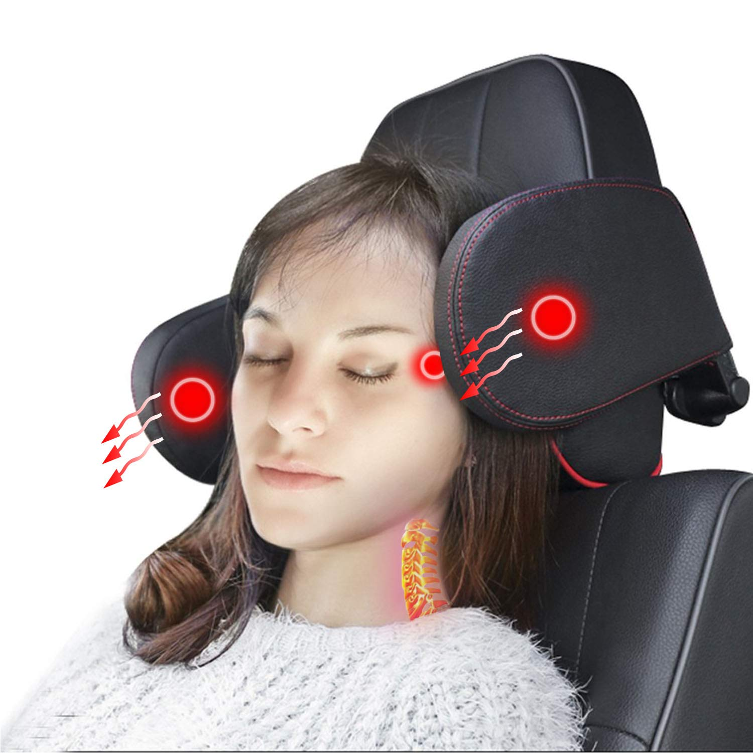 omotor Car Seat Pillow Headrest Neck Support Travel Sleeping Cushion for Kids Adults Black