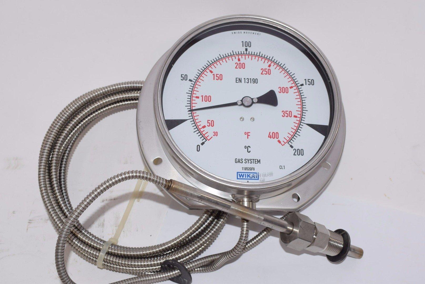 WIKA EN 13190 GAS ACTUATED THERMOMETER Sensor 6'' Gauge 11052QF9 0-400 deg