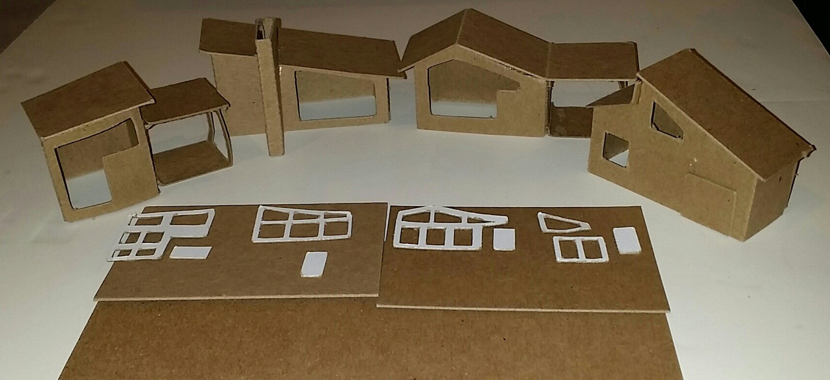 Mini Mid Century Modern Houses- Set of 4 DIY Putz Style Houses
