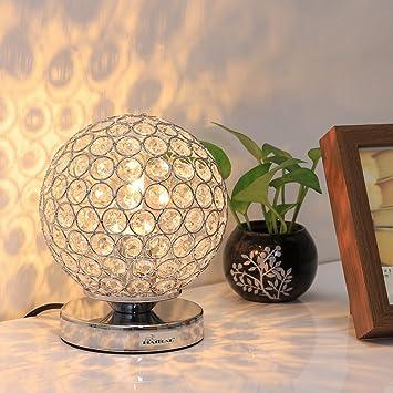 Amazon.com: HAITRAL Lámpara de mesa de bola de cristal ...