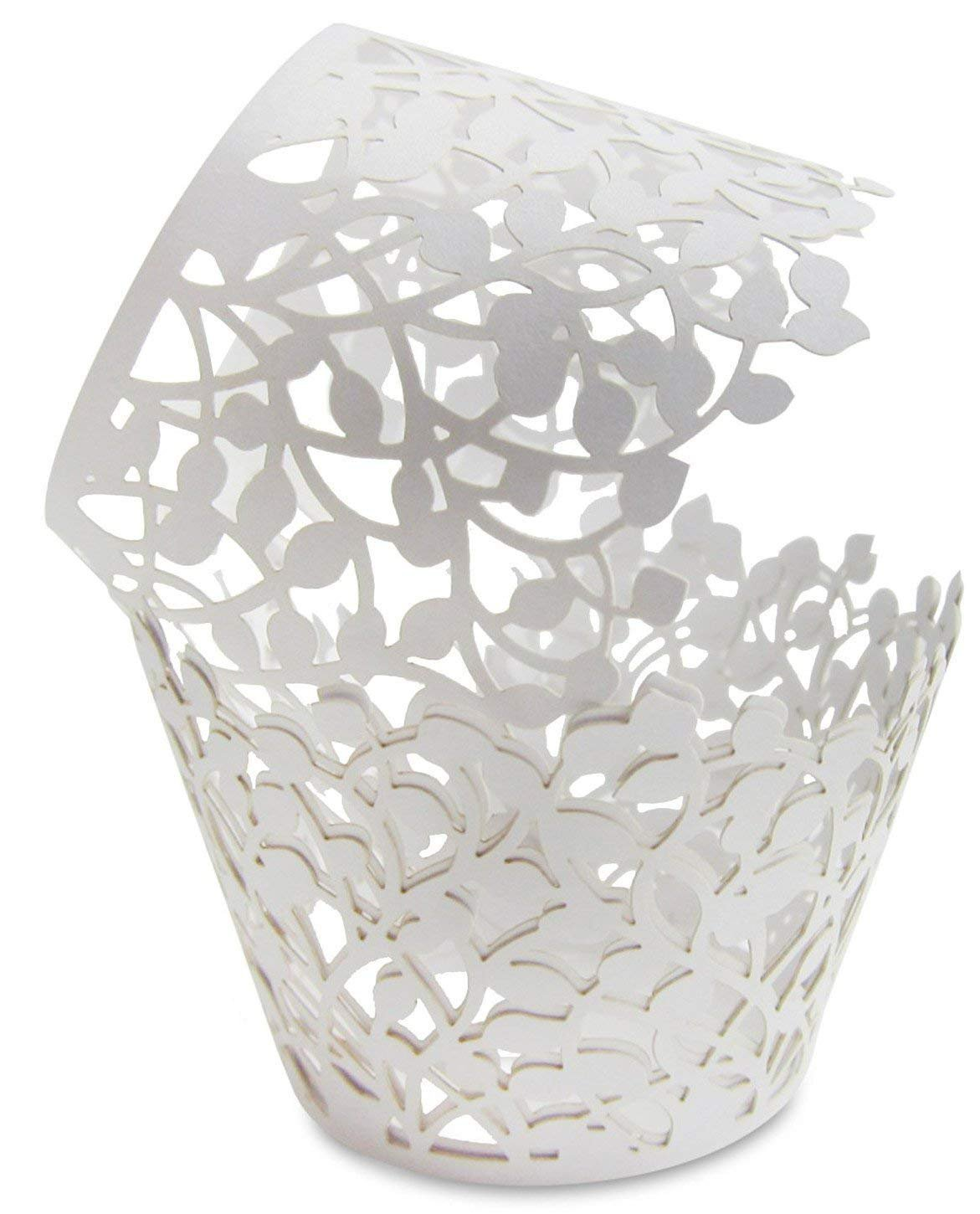 CUPCAKE WRAPPERS - 100 Pack White Shimmering Decorative Vine Lace Liner Wrapper - Versatile Design makes it perfect for Weddings Birthdays Tea Parties and any Special Event