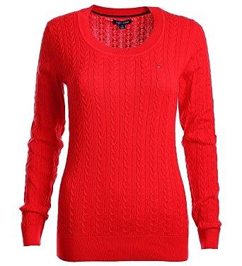 67656bf083e5 Tommy Hilfiger Damen Zopf Pullover Pulli Strickpullover Rundhals rot Größe S