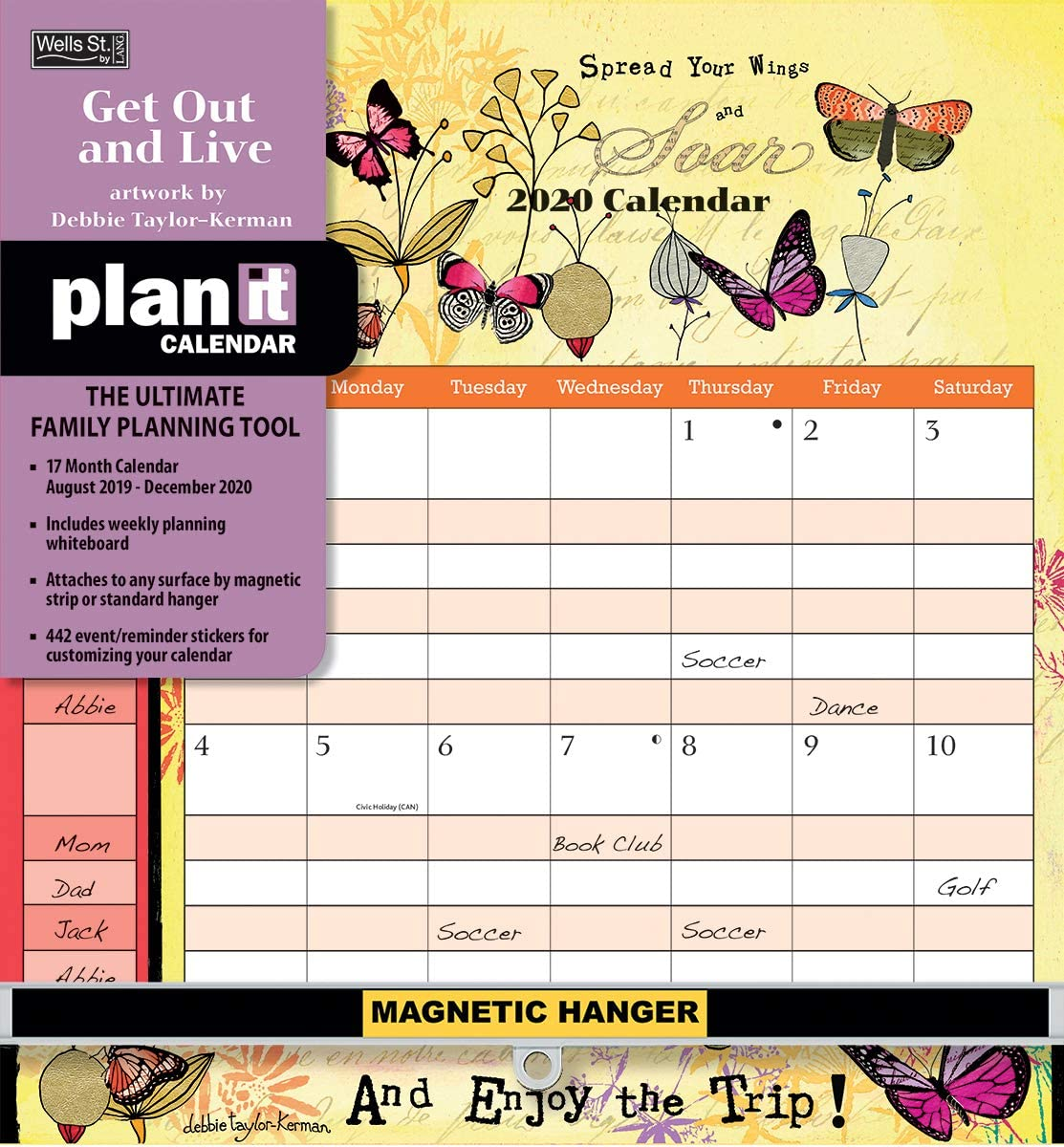 Wells Street by LANG WSBL Get Out and Live 2020 Plan-It/™ Plus Academic Wall Calendar 20997009172 20997009172