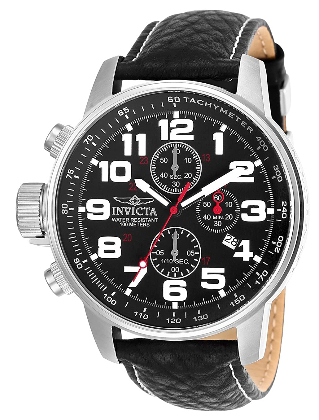 Invicta Men s 2770 Force Collection Stainless Steel Left-Handed Watch With Black-Leather Strap