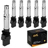 QYL Set of 6 Ignition Coil for Audi A3 Q7 TT Quattro Porsche Cayenne Volkswagen Eos Passat R32 Touareg 3.2L 3.6L V6 C1466 UF531 UF556