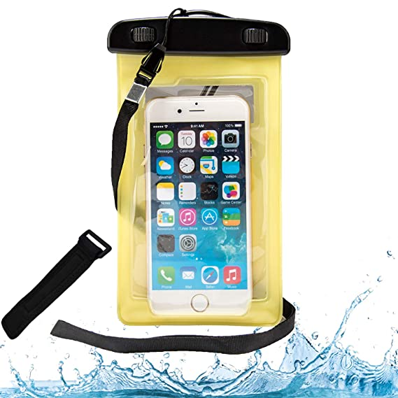 new product 630e6 78d88 Amazon.com: VG Case Yellow Waterproof Cell Phone Armband Case Dry ...
