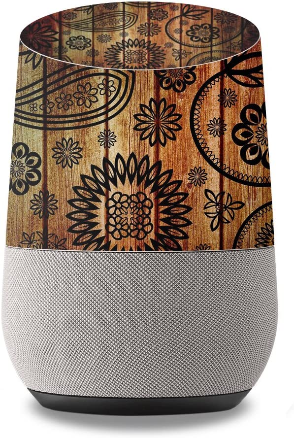 MightySkins Skin Compatible with Google Home wrap Cover Sticker Skins Wooden Floral