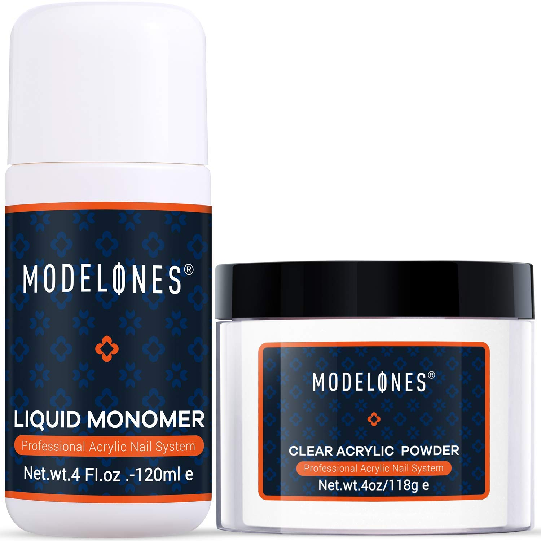 Modelones Acrylic Powder Clear Acrylic Powder Kit 4.23 oz + Professional Liquid Monomer 4.2 oz Nail System For Nail Extension Acrylic Powder and Liquid Set No Need Nail Lamp, Fast Dry Powder