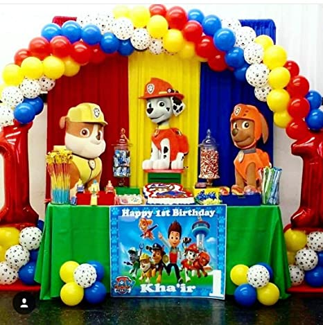 Disa Decorations Birthday Box Paw Patrol Back Drop Banners Red White 6X6 Ft DDPPBB03 Amazonin Toys Games