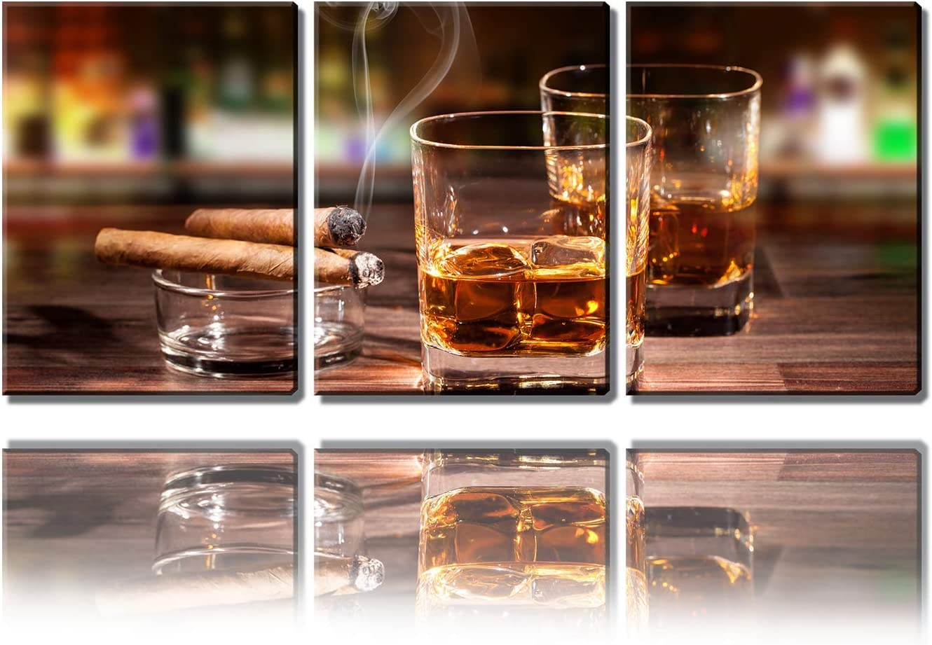 """Kitchen Wall Decor Canvas Art Still Life Cigar and Wine Whiskey Pattern Wall Art Decor Ready to Hang for Home Dining Room Pub Wall Mural Artwork 16"""" x 12"""" x 3 Pieces Framed Posters Prints Painting"""