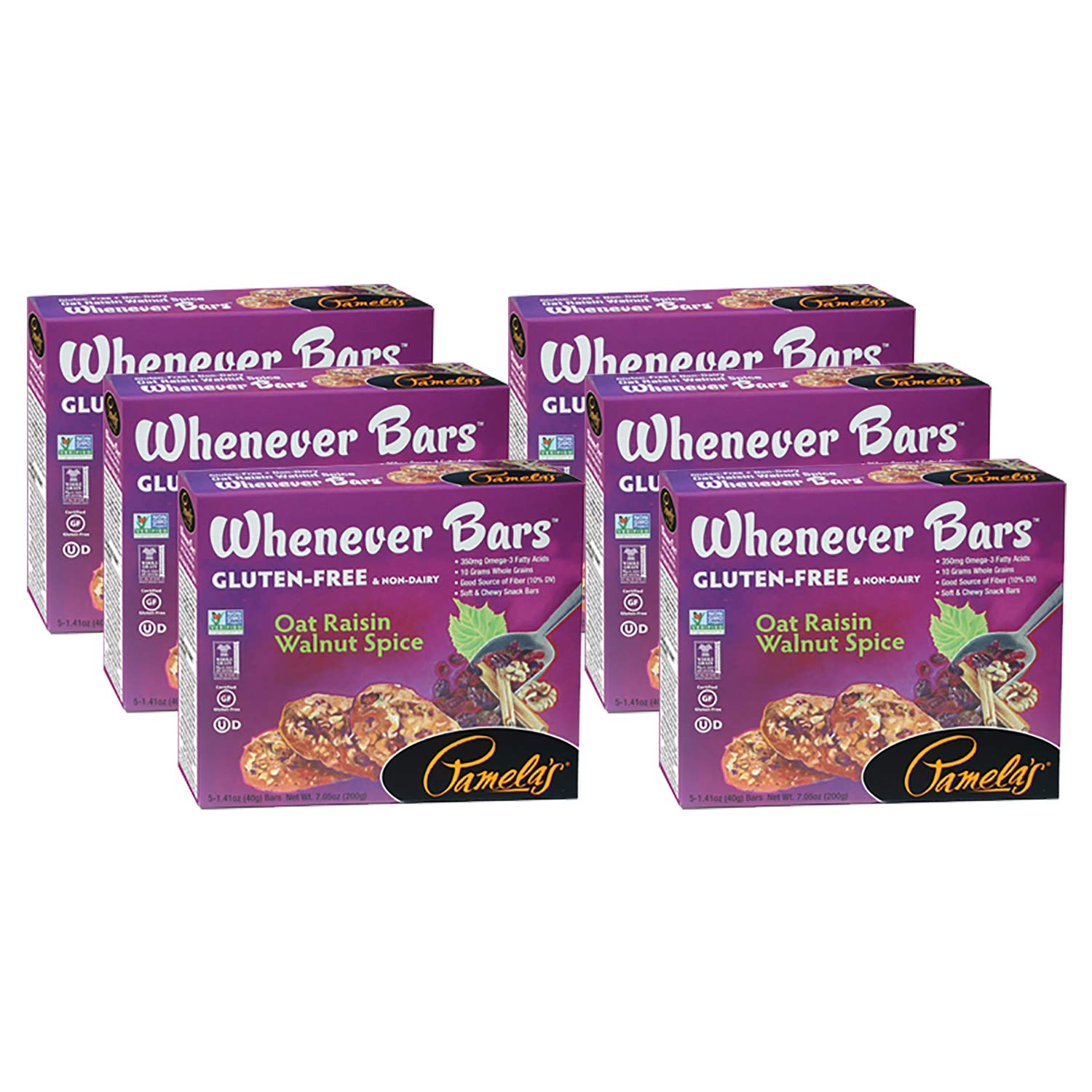 Pamela's Products Whenever Bars Oat Raisin Walnut Spice, 1.41-ounce Bars, 5 Bars per Box, Pack of 6 Boxes (Total 30 Bars)