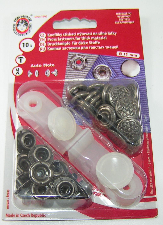 rostfrei !! 10  Druckknöpfe Druckknopf  15mm Nylon schwarz//silber !