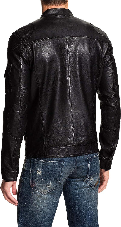 Mens Leather Jackets Motorcycle Bomber Biker Genuine Lambskin 104