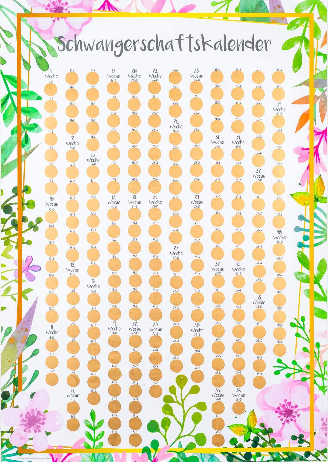 stilvoller Begleiter durch die Schwangerschaft Friendly Fox Schwangerschaftskalender Rubbel-Kalender f/ür jeden Tag Schwangerschaftstagebuch