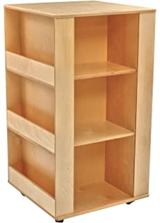 Childcraft 071870 Mobile 4 Sided Library Stand With 3 Shelves Birch Veneer Panel