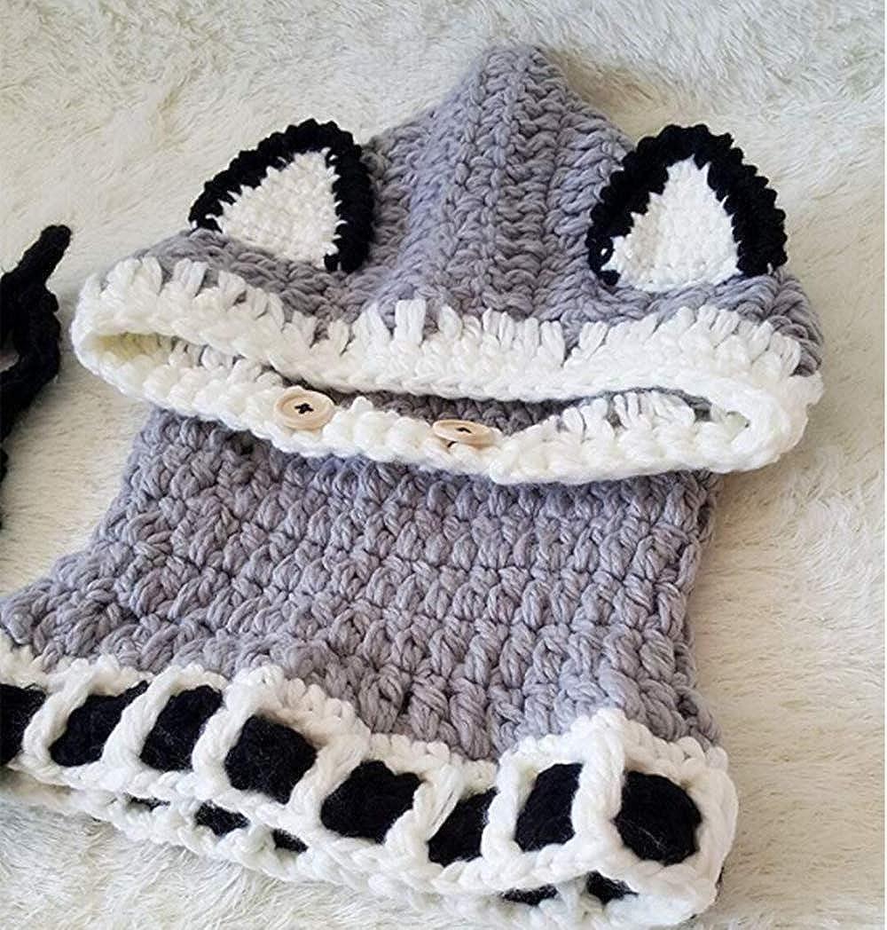 LIWEIKE Winter Windproof Knitted Warm Cap Hat Scarf Earflap Beanie Set for Baby Kids