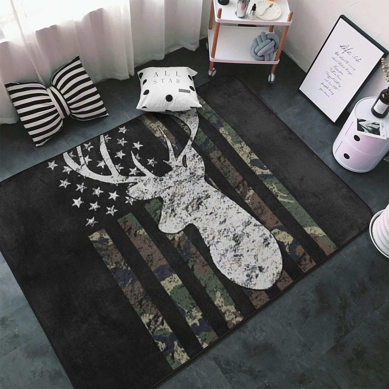 NiYoung Luxury Super Soft Indoor Area Rug, 60x39 Inch, Modern Floor Carpet Great for Living Room Bedroom Dining Room, Deer Camo Camouflage American Flag Hunting Black