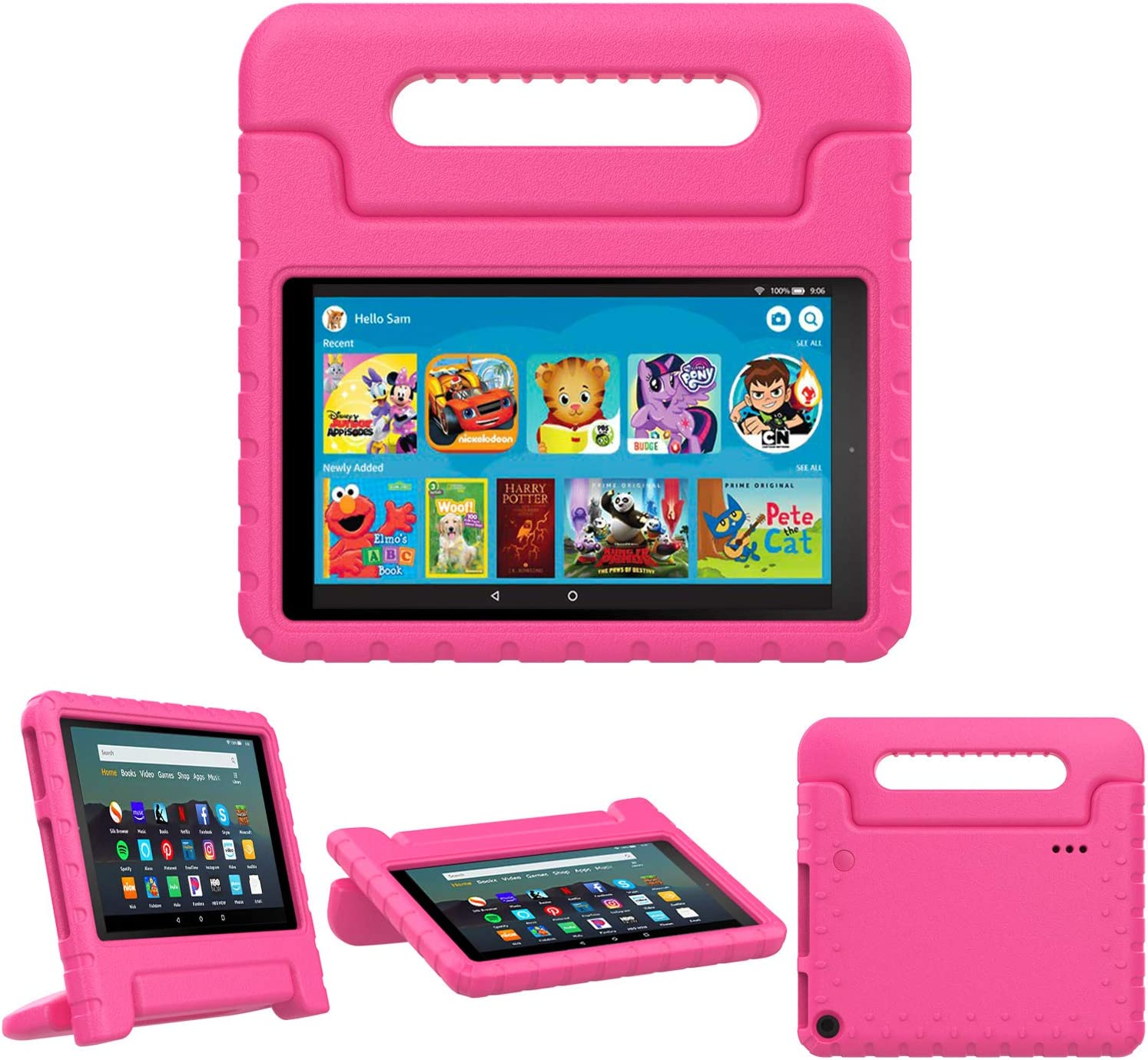 TiMOVO Case for Fire 7 Kids Case, Fire 7 Tablet Case, Lightweight Shockproof Convertible Handle Stand, Kids Case for All-New Fire 7 Tablet (9th Generation, 2019 Release) - Magenta