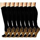 8 Pack Copper Knee High Compression Socks For Men & Women-Best For Running,Athletic,Medical,Pregnancy and Travel -15…
