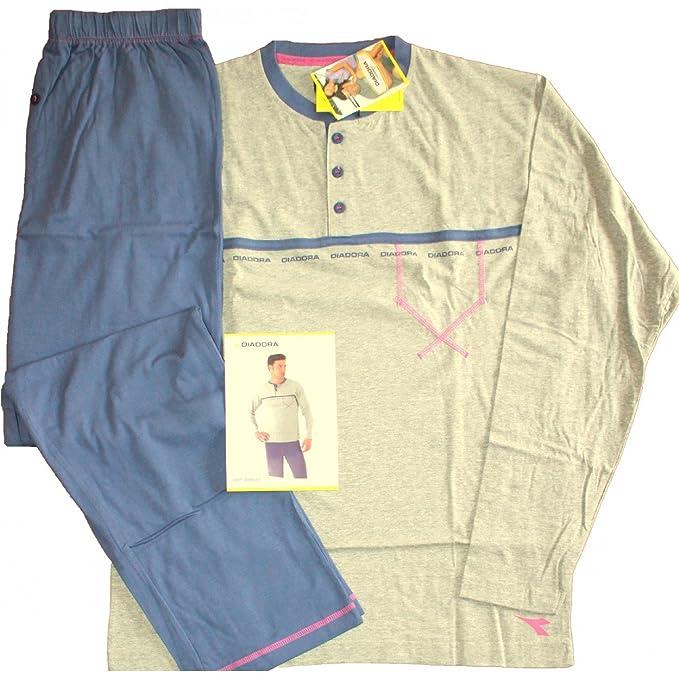 Pijama Hombre Manga Larga Diadora M/48-L/50-xl/52 puro algodón gris 60222: Amazon.es: Ropa y accesorios
