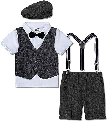 mintgreen Trajes para Niños Gentleman Conjunto 4 Piezas Camisa Manga Corta con Pajarita + Chaleco + Pantalones de Tirantes + Boina, 1-4 Años