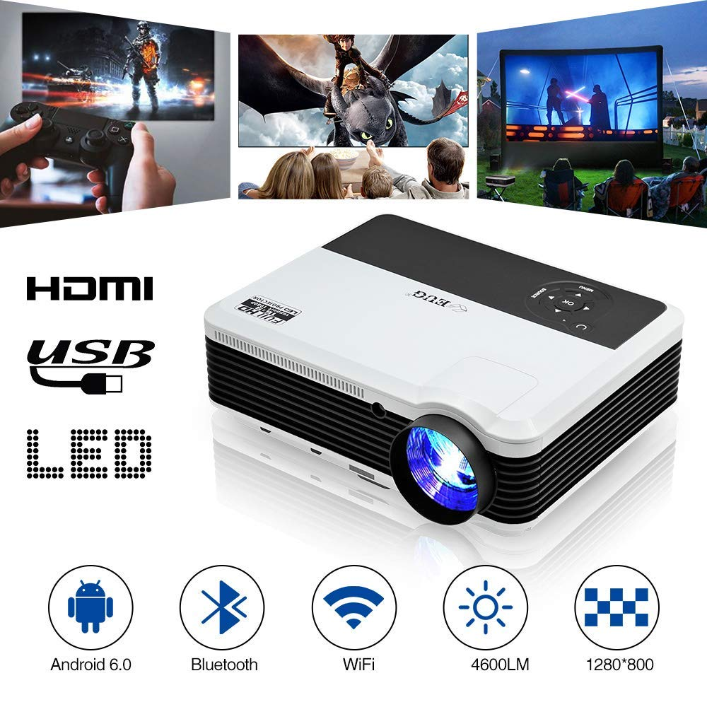 Wxga WiFi Proyector LCD 1080P HDMI Android 4500 Lumen Multimedia ...