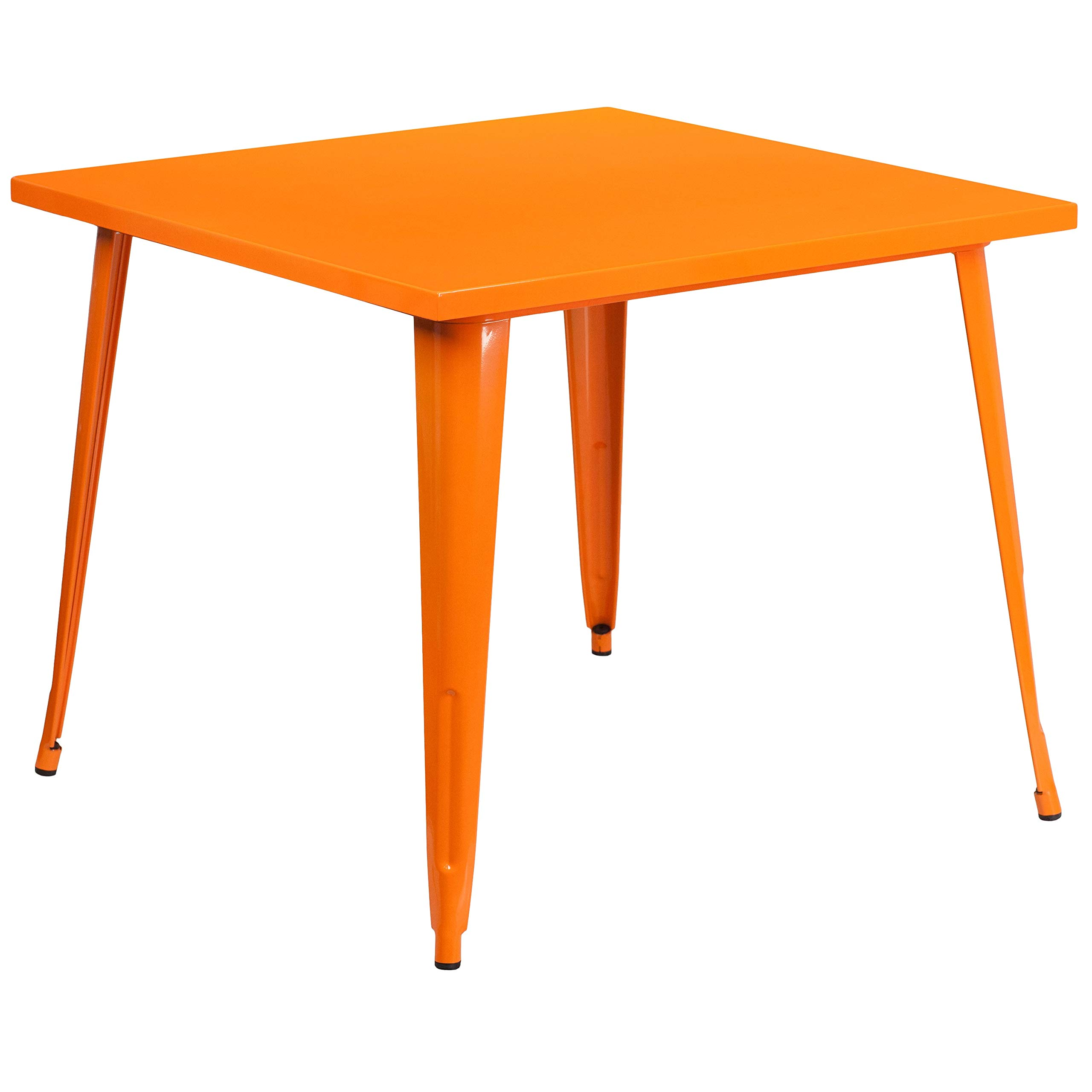 MFO 35.5'' Square Orange Metal Indoor-Outdoor Table by My Friendly Office