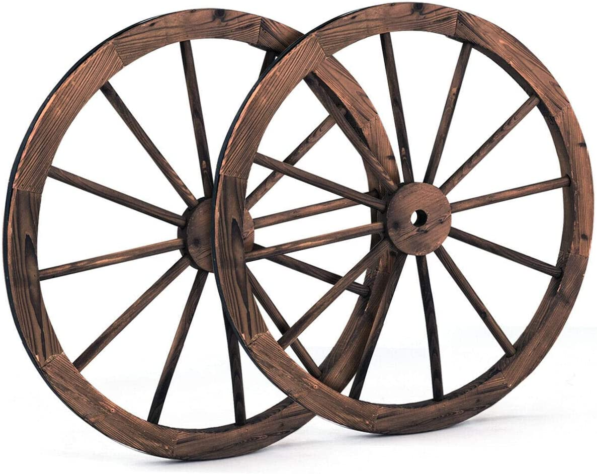 KCHEX Set of 2 Nice Modern 30 in Decorative Vintage Wood Garden Wagon Wheel Indoor Outdoor Patio Garden Lawn Durable Decor Accent
