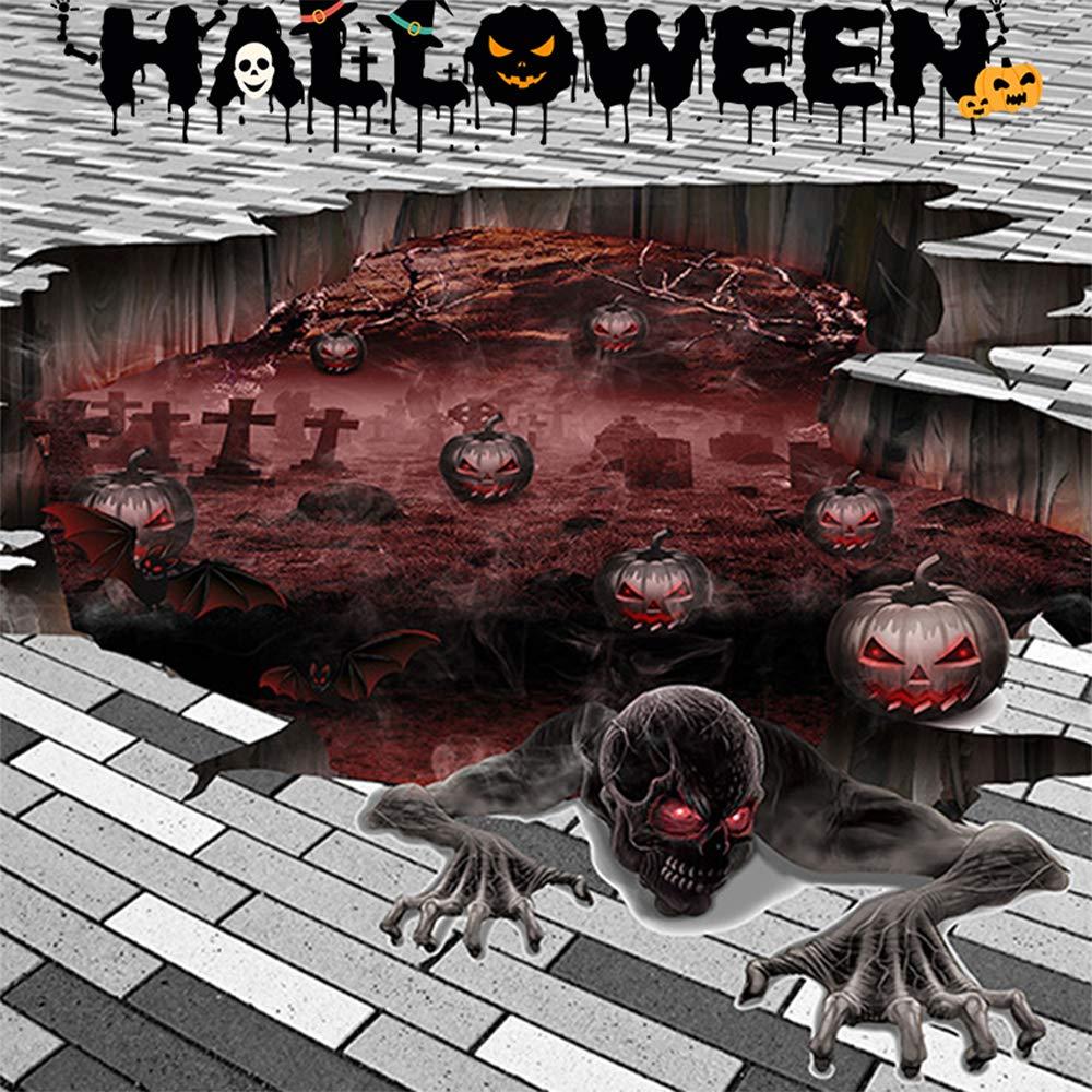 Halloween Scary Wall 3D Stickers Pumpkin Skull Floor Decal Wall Sticker for Home Living Room/Bar Pub/Supermarket Decor (Floor)